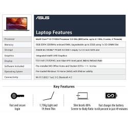 ASUS VivoBook15 X515EA-BQ312TS Intel Core i3-1115G4 (8GB RAM/256 GB NVMe SSD/Win10+McAfee/Ms Office H&S 2019/15.6-inch FHD IPS/FP Reader/1.75 kg/Silver/1 Yr. Warranty)